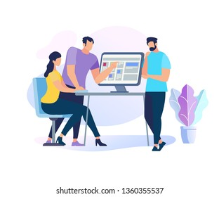 Two Handsome Men Stand at Table with Computer Explain Information to Sitting Girl. Teamwork. Young People Work or Study Together, Prepare for Exams, Skills Improvement Cartoon Flat Vector Illustration