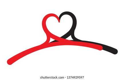 Two hangers in a shape of heart. Concept illustrating love to shopping clothes. Logo, brand identity, symbol of shopping, sale, sewing, atelier, laundry, hotel services