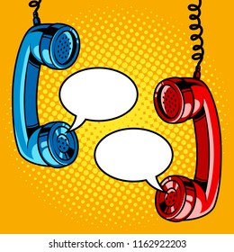 Two hanging phone handsets with empty speech bubbles. Pop art vector retro illustration.