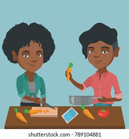 Two happy african-american women having fun while cooking healthy meal together. Young smiling women preparing healthy vegetable meal together. Vector cartoon illustration. Square layout.