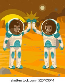 two happy astronauts doing a high five on mars