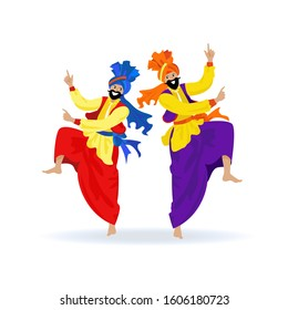 Two happy bearded Sikh men in turbans, colorful clothes, dancing traditional bhangra dance on Indian festival Lohri, party. Cartoon flat illustration on white background for banner, poster, card