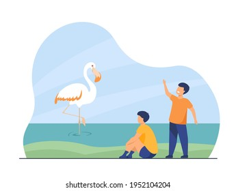 Two happy boys watching heron in lake. Childhood, nature, bird flat vector illustration. Animals and wildlife concept for banner, website design or landing web page