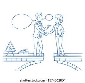 Two happy business people shaking hands after bulding a bridge to each other. Concept for meeting on a middle ground for contract negotiations. Hand drawn line art cartoon vector illustration.