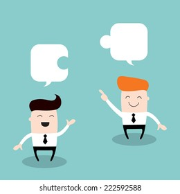 Two happy businessman discuss their work. Partnership, successful business concept. Vector illustration.