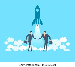 Two happy businessmen congratulate each other on the successful launch of a new project. The concept of victory. Flat vector illustration