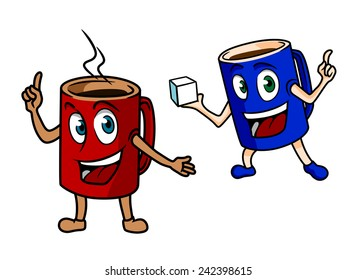 Two happy cartoon mugs of coffee, one red one pointing to the steam from the freshly brewed espresso and the other blue one carrying a sugar cube in hand