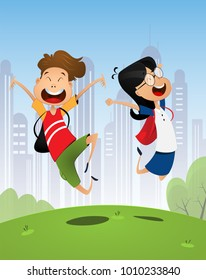 Two happy cartoon pupils, boy and girl. Back to school. Vector illustration.