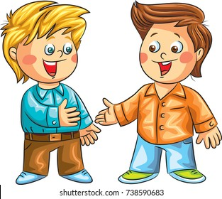 Two happy children meeting. Two boys ready to shake their hands and ready to start a conversation. Vector illustration.