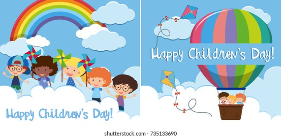 Two happy children's day card with kids in balloon illustration