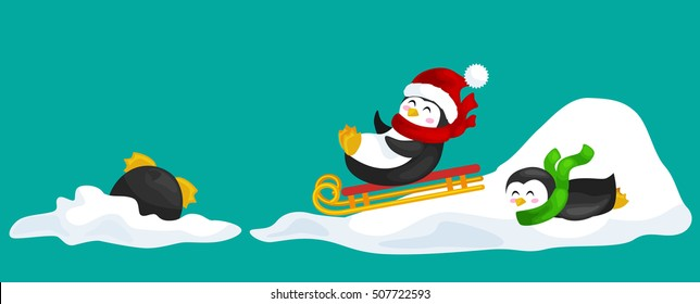 two happy cute Christmas penguin in hat and scarf sledding snow ice slides on the eve of the new year. Greeting vector illustration