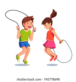 Two happy excited kids boy and girl jumping up together over skipping ropes they holding in hands. Childhood happiness & togetherness. Flat vector character illustrations isolated on white background.