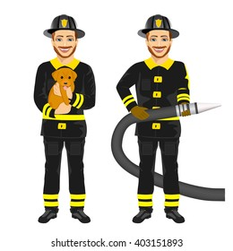 two happy firemen working holding hose and rescuing cute dog