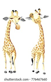 two happy giraffes