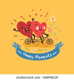 "Two happy hearts biking with tandem bike on yellow background with flowers and ribbon with ""Happy Moments"" text. Vector card for wedding, date or Valentine's day"