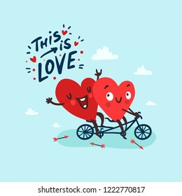 "Two happy hearts in love biking. Hand drawn lettering ""This is Love"". Happy Valentine's day Card"