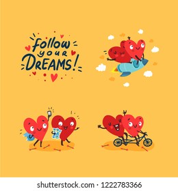 "Two happy hearts in love. Cute married couple traveling together. Hand Drawn Lettering ""Follow Your Dreams"". Happy Valentine's day vector card"