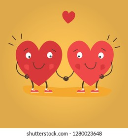 Two happy hearts in love. Cute couple in love holding hands. Happy Valentine's day vector card - Vector illustration