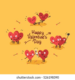 Two happy hearts in love. Cute couple in love doing activities together: drinking, swinging, making selfie. Happy Valentine's day vector card