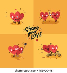 "Two happy hearts in love. Cute couple in love doing activities together: drinking, swinging, making selfie. Hand Drawn Lettering ""Share your Love"". Happy Valentine's day vector card"