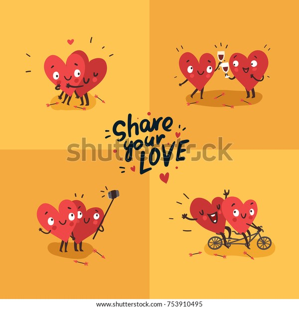 """Two happy hearts in love. Cute couple in love doing activities together: drinking, swinging, making selfie. Hand Drawn Lettering """"Share your Love"""". Happy Valentine's day vector card"""