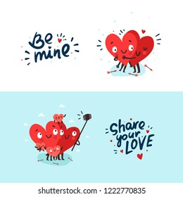 "Two happy hearts in love hugging. Cute couple making selfie. Hand drawn lettering ""Be Mine"" and ""Share You Love"". Happy Valentine's day vector card"