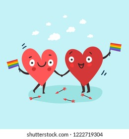 Two happy hearts in love manifest with Rainbow flag for LGBT rights. Cute  cartoon gay couple. Vector illustration valentine's day card