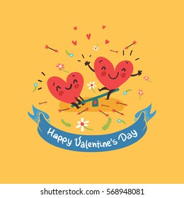 "Two happy hearts in love swinging on background with flowers and ribbon with ""Happy Valentine's day"" text. Vector card for wedding or date."