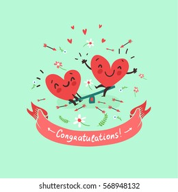 """Two happy hearts in love swinging on background with flowers and ribbon with """"Congratulations!"""" text. Vector card for wedding, date or Valentine's day"""