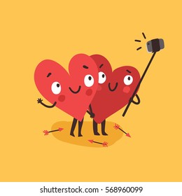 Two happy hearts making selfie on yellow background. Vector card for wedding, date or Valentine's day.