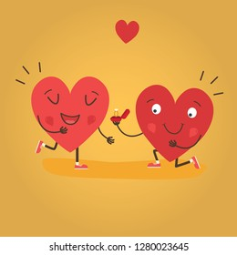 Two happy hearts, proposes a woman to marry. Cute couple in love. Happy Valentine's day vector card