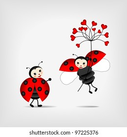 two happy ladybugs holding red flower - vector