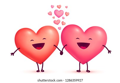 Two happy laughing holding hands cute lovely hearts, vector Valentines day greeting cart elements