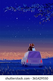 Two Happy lovers sitting on the roof of the car and look at the city at night. Modern design stylish illustration. Retro flat vector background. Valentine's Day Card.