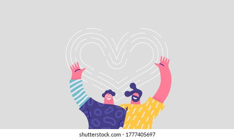 Two happy men hugging together and smiling with heart shape love symbol. Isolated friend cartoon character illustration for best friends relationship, brothers or couple concept.