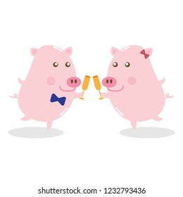 Two happy pigs are making a toast for  celebration