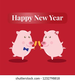 Two happy pigs are toasting to celebrate happy new year of 2019