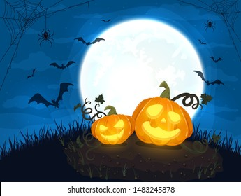 Two Happy pumpkins and moon on blue night background. Halloween card with smiling Jack O' Lanterns, bats and spiders. Illustration can be used for holiday cards, invitations and banners.