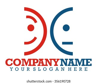 two happy sad emoticon face logo icon vector
