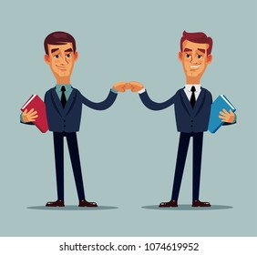 Two happy smiling colleague office worker businessman character. Teamwork career helping hand concept. Vector flat cartoon isolated illustration