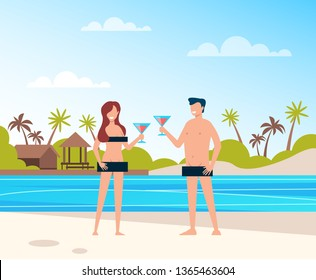 Two happy smiling people man and woman couple characters nudist sunbathing and relax at beach. Summer time and open mind concept. Vector flat cartoon graphic design illustration