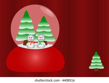 Two happy snowmen in love in glass