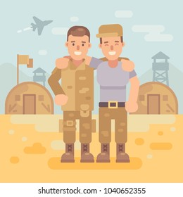 Two happy soldier friends in a military camp flat illustration. Army scene background