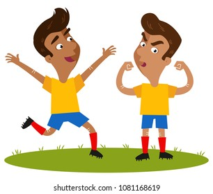 Two happy winning South American cartoon outfield players wearing yellow shirts and blue shorts running and posing proudly isolated on white background