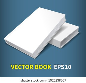 Two hardcover books.Lying on the table, one on top of the other. A clean white cover for your business that adorns your creativity. With soft shadows, a realistic image. Isolated. Vector illustration.