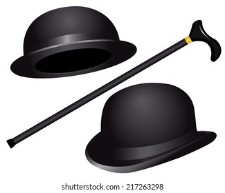 two hats and cane on white background
