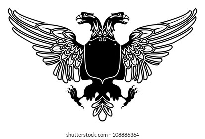 Two Headed Eagle Coat Of Arms With Empty Banner On Its Stomach