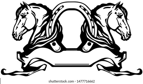 two heads of horses in profile. Logo, banner, emblem with horseshoe and ribbon scroll. Black and white side view vector
