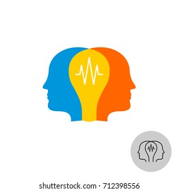 Two heads with lamp bulb overlay colorful logo. Teamwork synergy symbol.