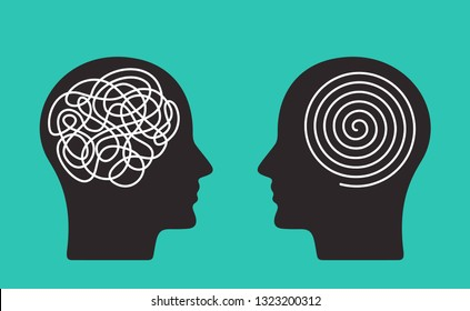 Two heads of a person with the opposite mindset. concept of chaos and order in thoughts. flat vector illustration isolated on blue background